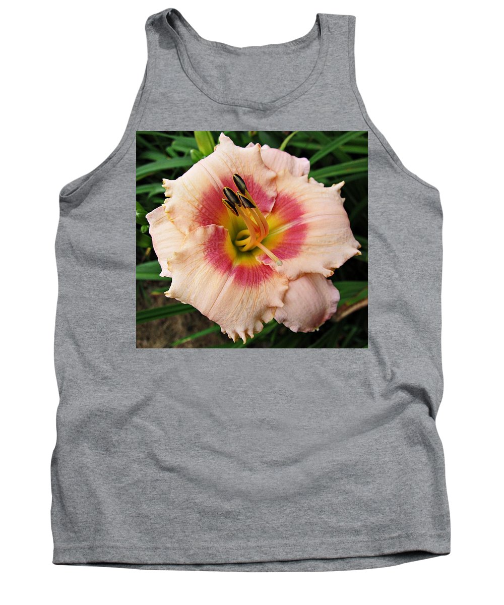 Daylily Tank Top featuring the photograph Sweet Sugar Candy Daylily by MTBobbins Photography
