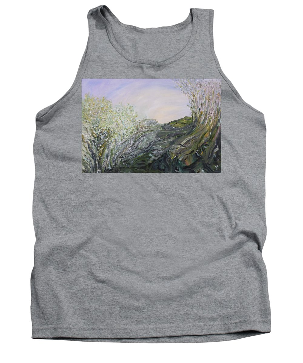 Whimsical Landscape Tank Top featuring the painting Swirling In Grace by Sara Credito