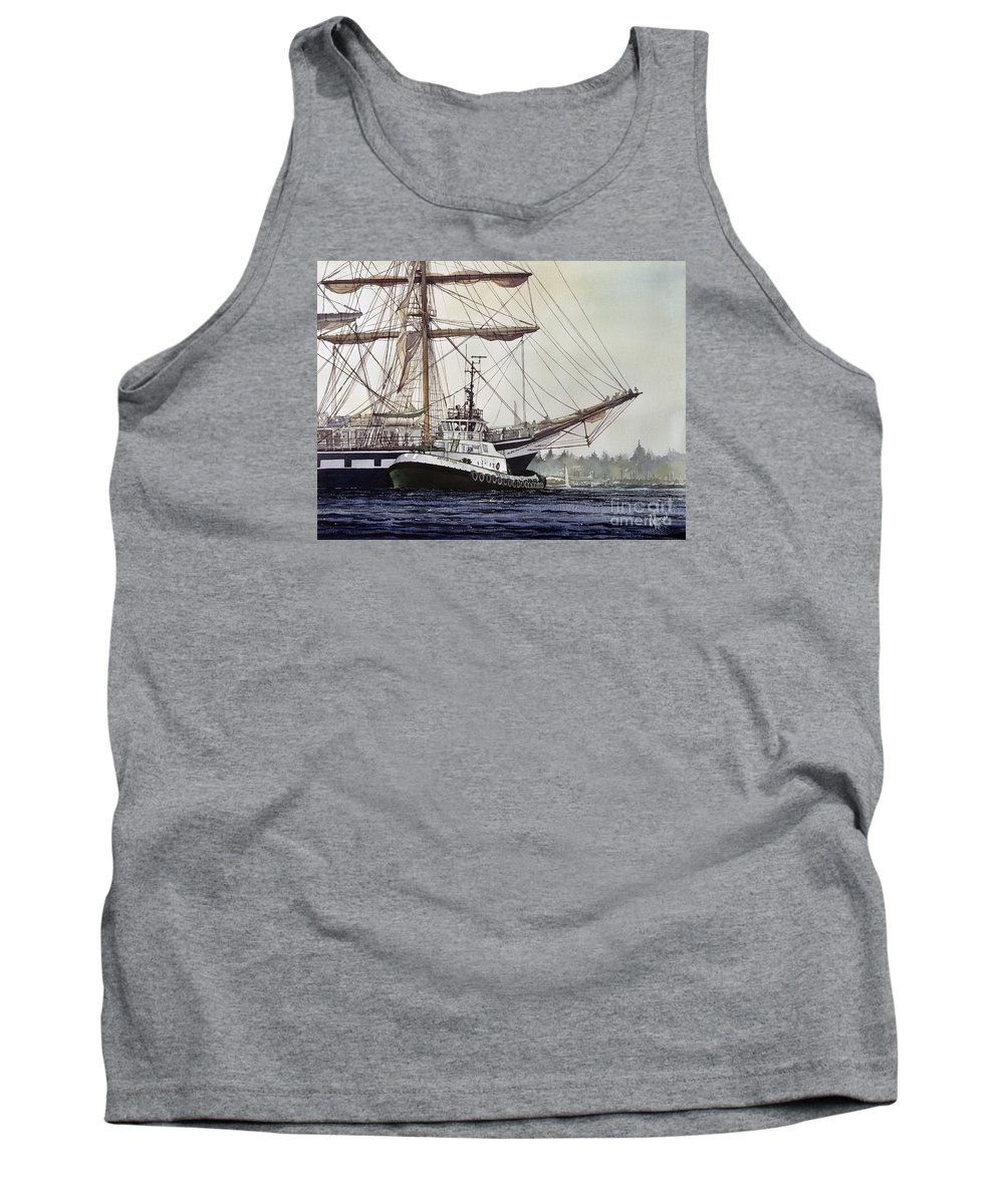 Tall Ship Art Prints Tank Top featuring the painting Tall Ship Pallada Tug Assist by James Williamson