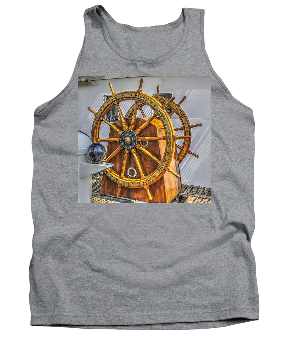 Tall Ship Tank Top featuring the photograph Tall Ships Wheel by Dale Powell