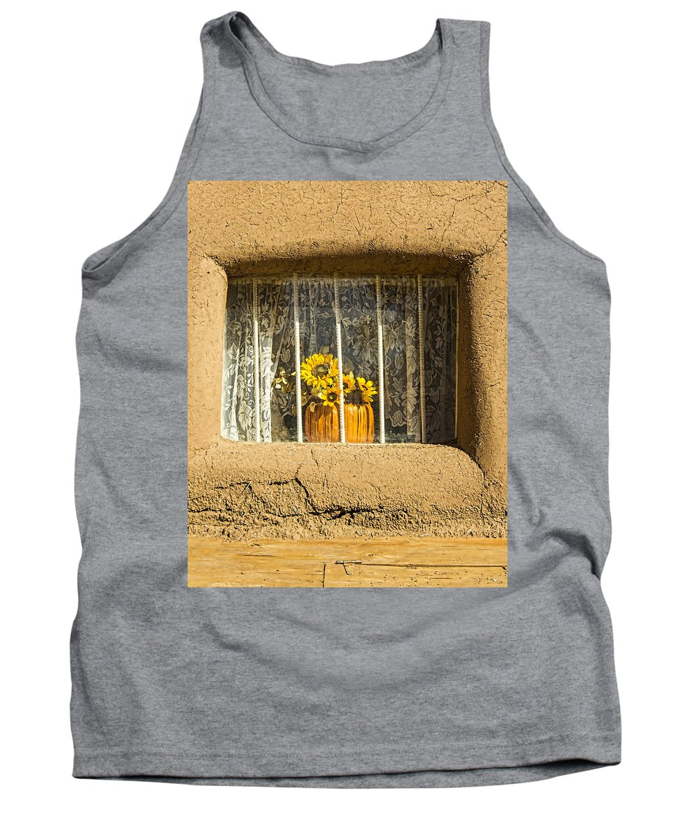 Southwest Tank Top featuring the photograph Taos Pueblo Sunflowers by Brian King