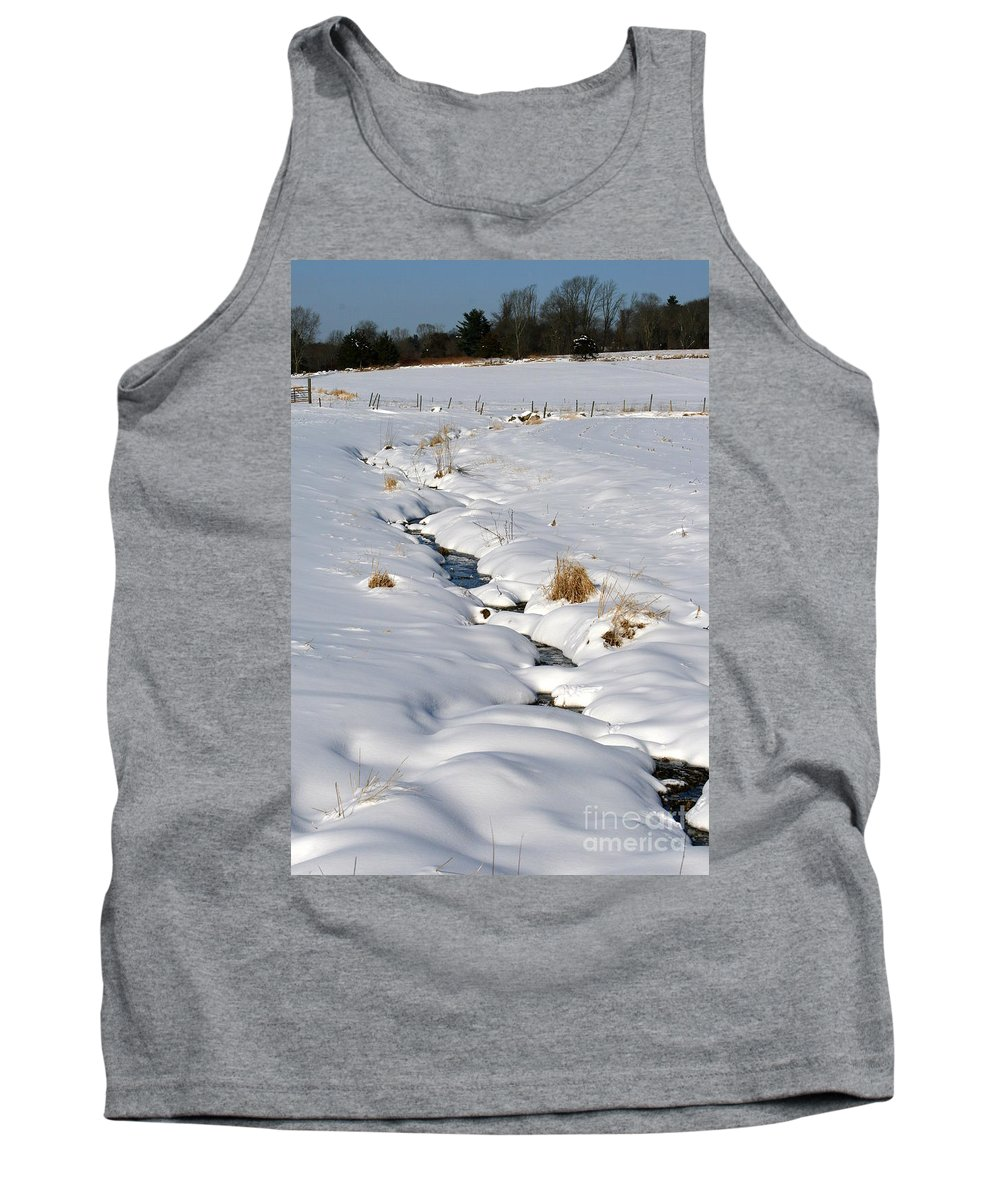 Brook Tank Top featuring the photograph Textured Winter Blues by Neal Eslinger