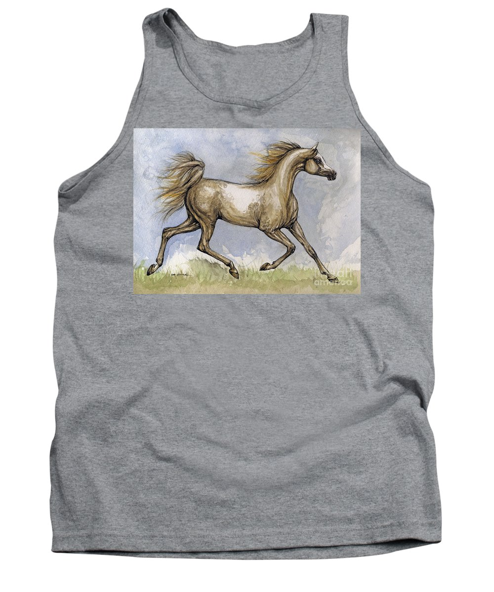 Mare Tank Top featuring the painting The Arabian Mare Running by Angel Ciesniarska