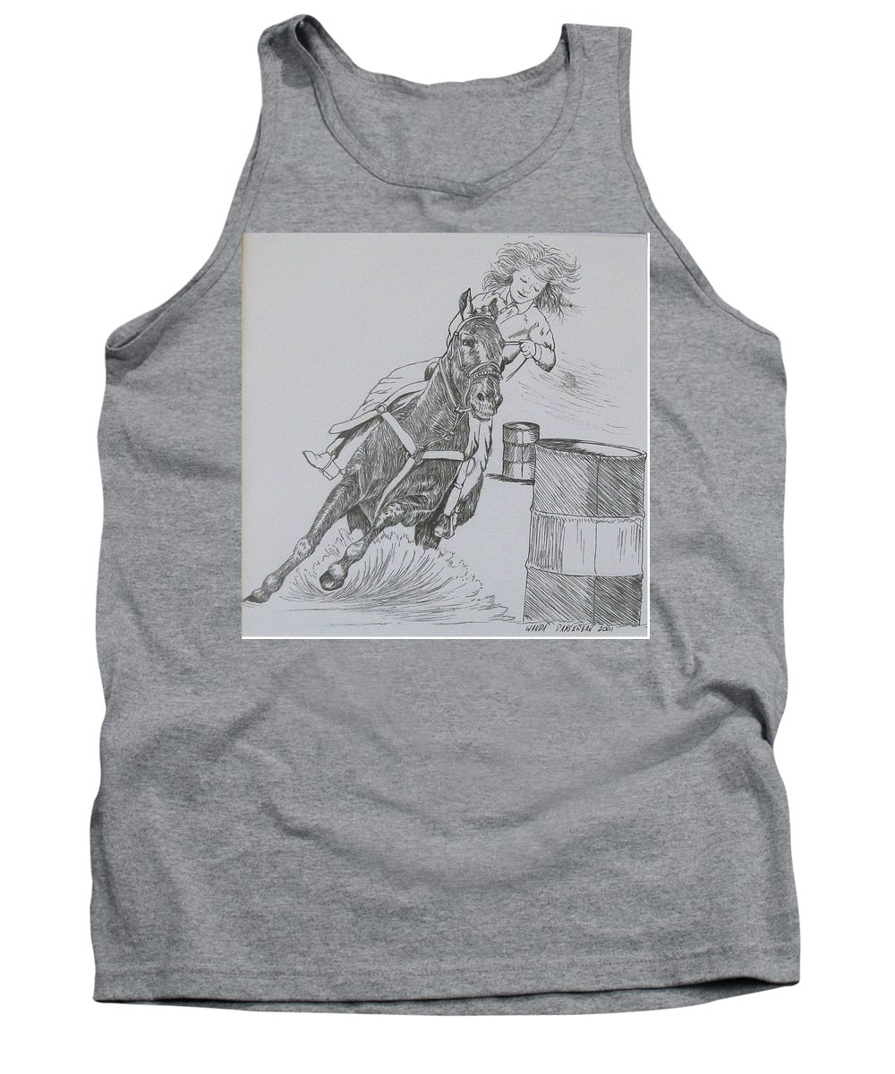 Black And Grey Black Poster Tank Top featuring the drawing The Barrel Racer by Wanda Dansereau