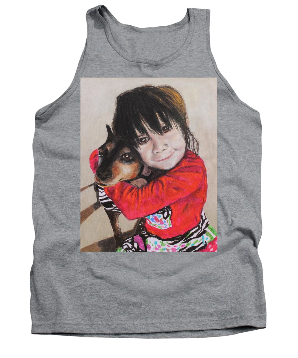 Girl Tank Top featuring the painting The Best Of Friends by Jeanne Fischer
