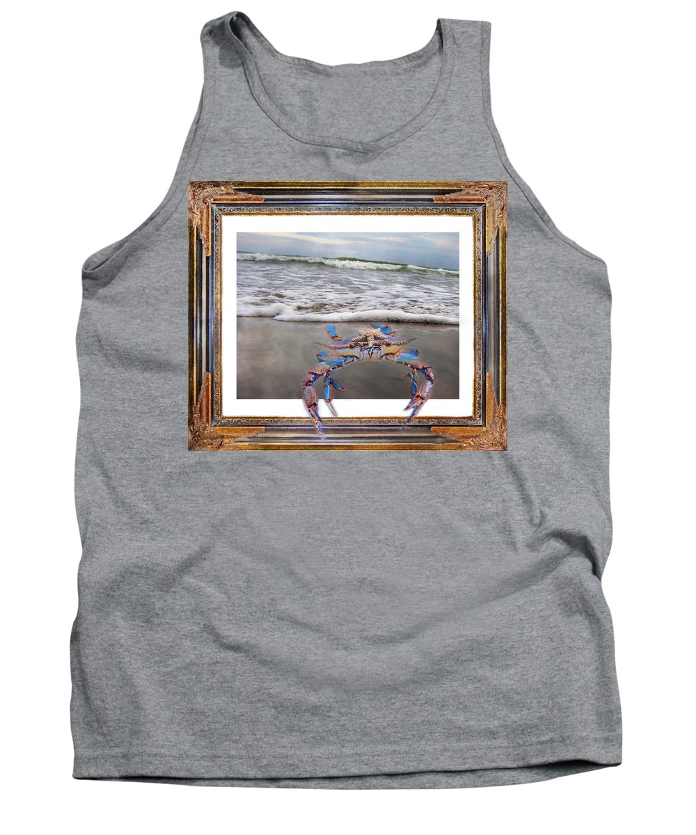 Blue Tank Top featuring the digital art The Blue Crab by Betsy Knapp