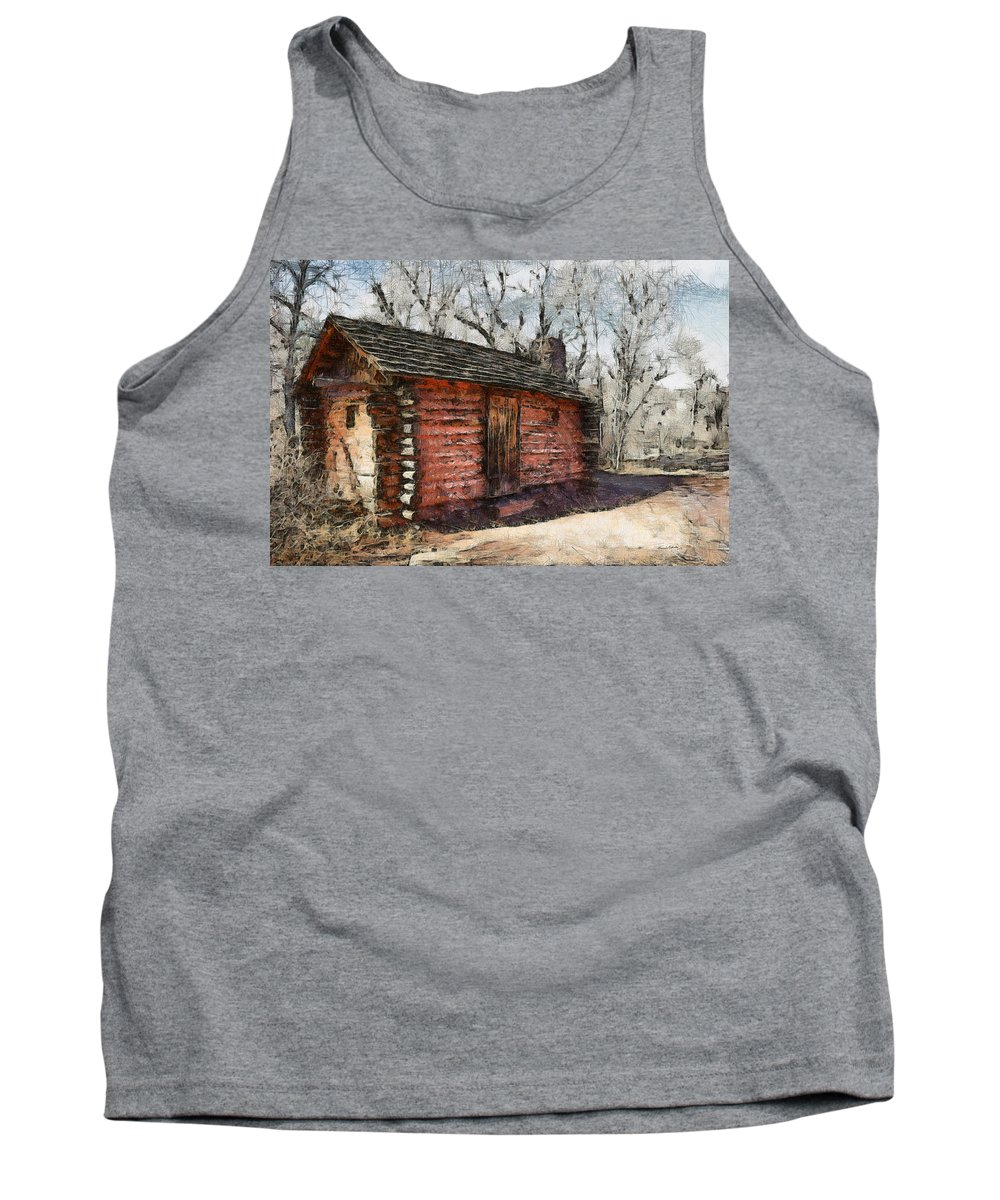 Cabin Tank Top featuring the digital art The Cabin by Ernie Echols