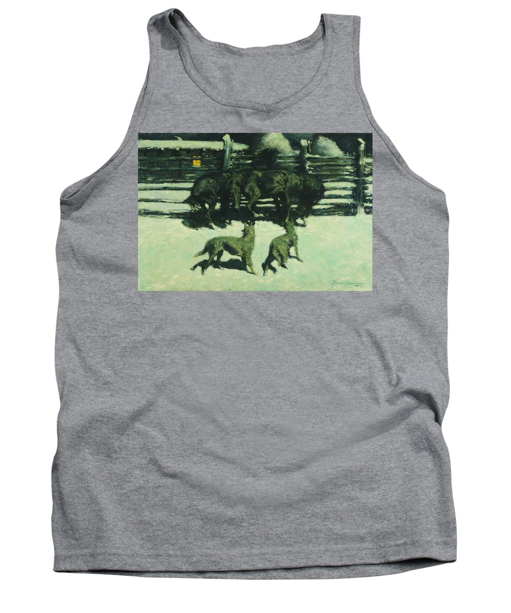 Frederic Remington Tank Top featuring the painting The Call For Help by Frederic Remington