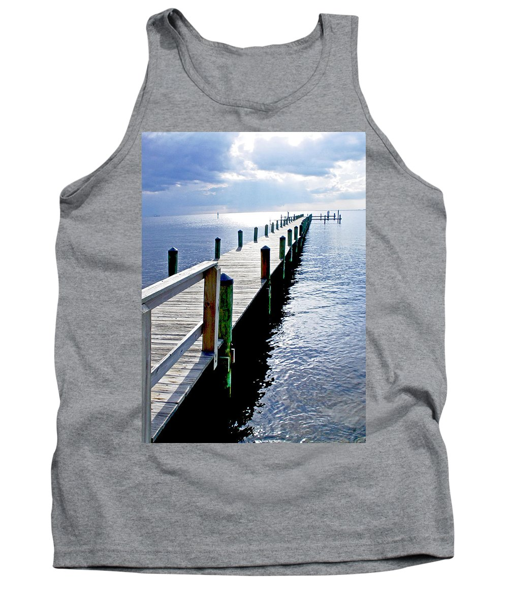 Seascape Tank Top featuring the photograph The Dock Of The Bay by Norman Johnson