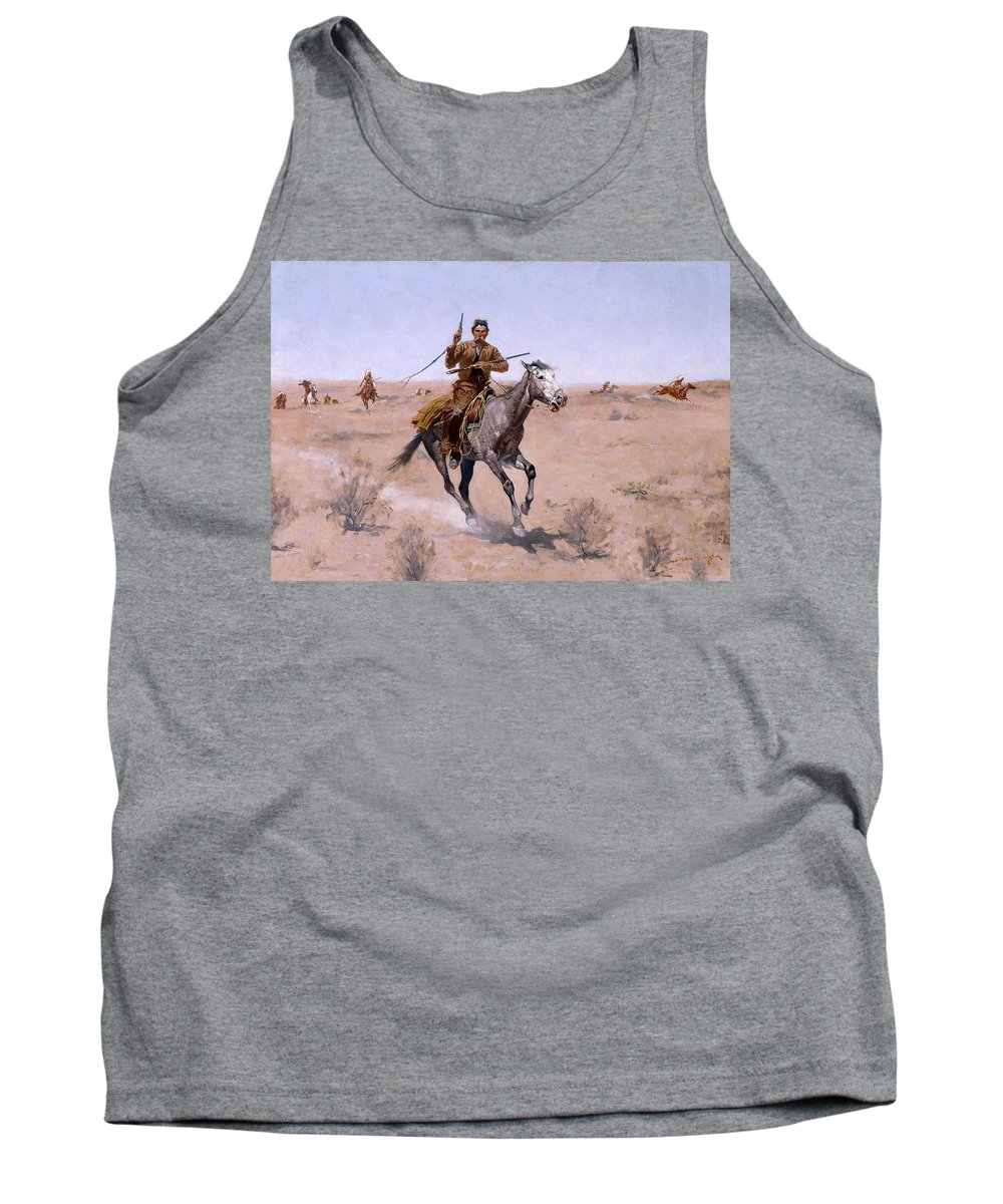 Frederic Remington Tank Top featuring the painting The Flight by Frederic Remington