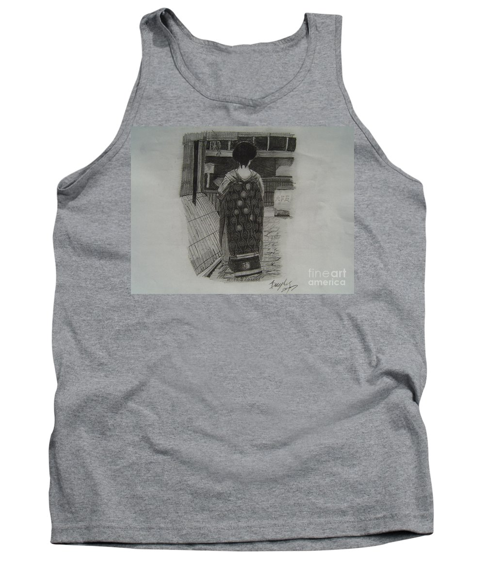 Geisha Tank Top featuring the drawing The Geisha by Anthony Dunphy