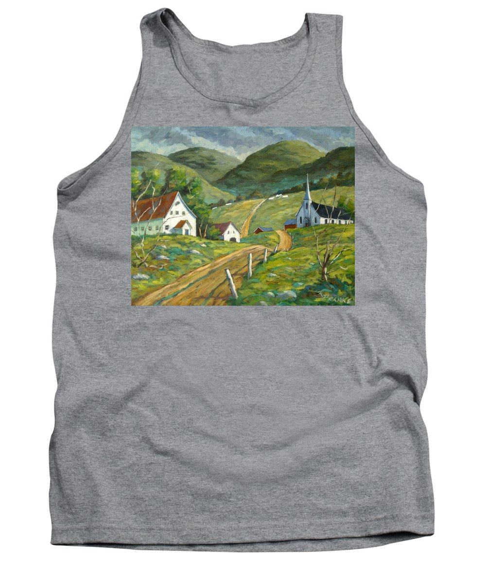 Hills Tank Top featuring the painting The Green Hills by Richard T Pranke