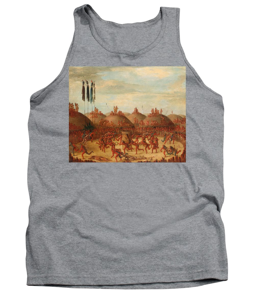 George Catlin Tank Top featuring the painting The Last Race. Mandan O-kee-pa Ceremony by George Catlin