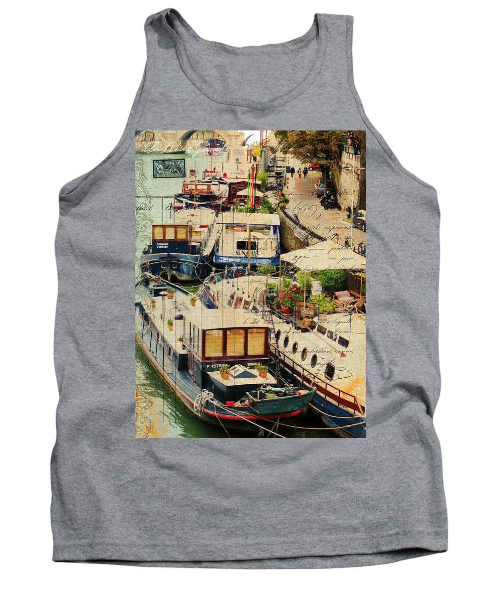 Sandy Lloyd Tank Top featuring the painting The Left Bank by Sandy Lloyd