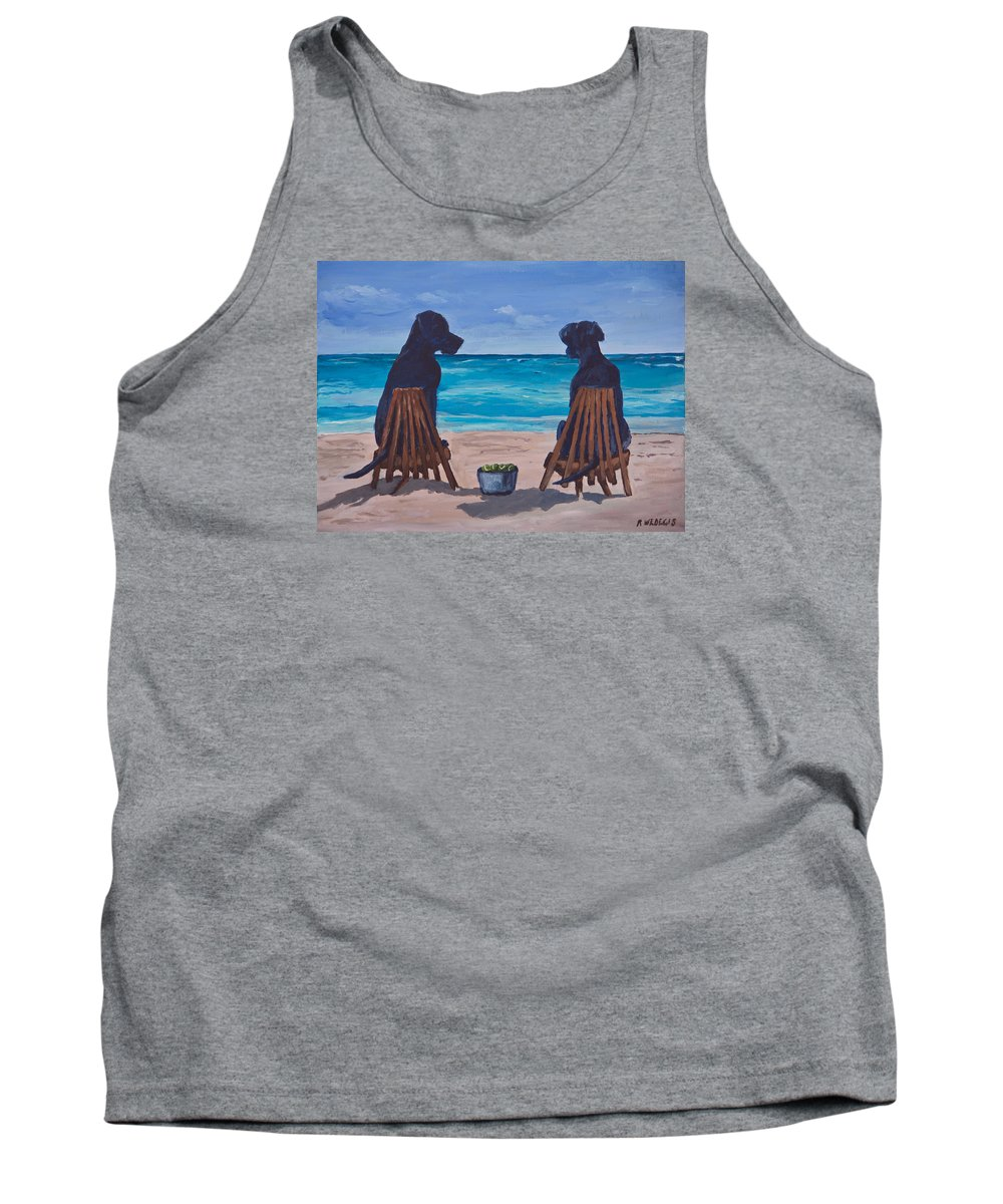 Labrador Retriever Tank Top featuring the painting The Perfect Beach Day by Roger Wedegis