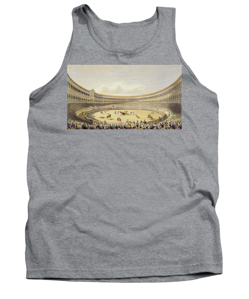 Bullfighting Tank Top featuring the drawing The Plaza De Toros Of Madrid, 1865 by William Henry Lake Price