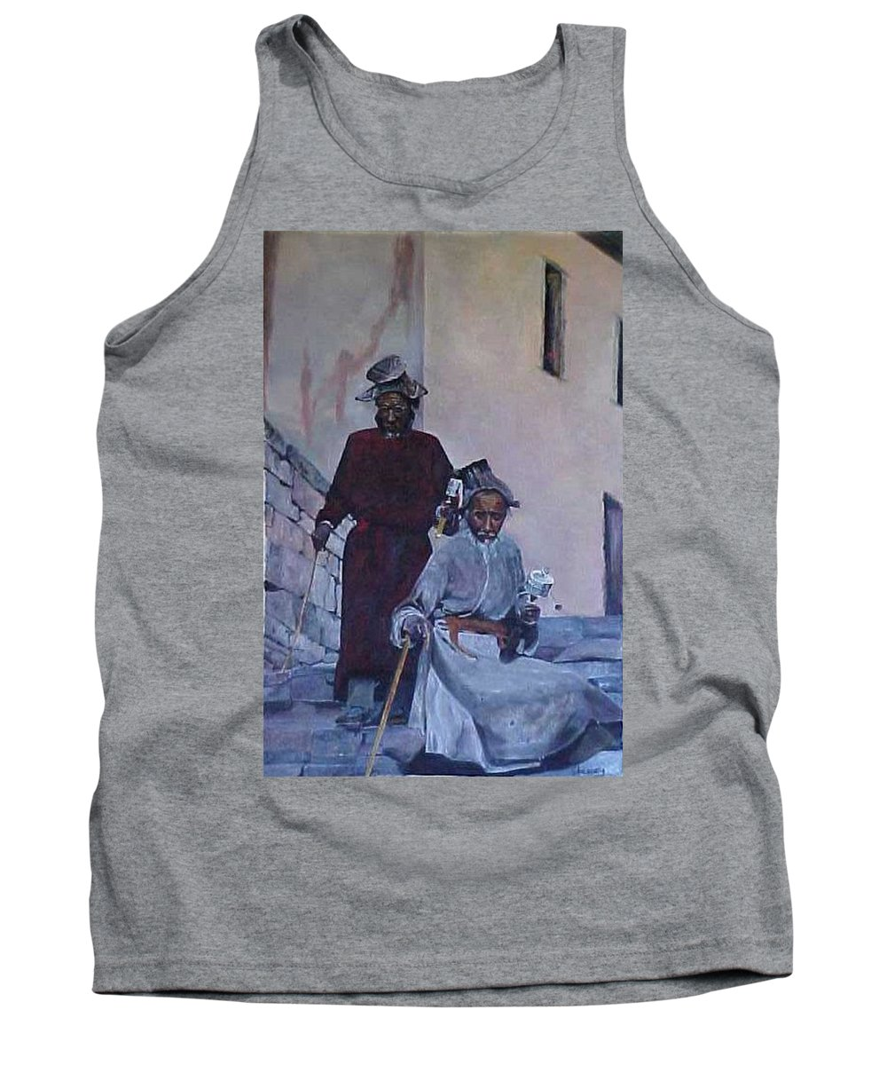 Tibet Tank Top featuring the painting The Prayer Wheels by Bob Chesney