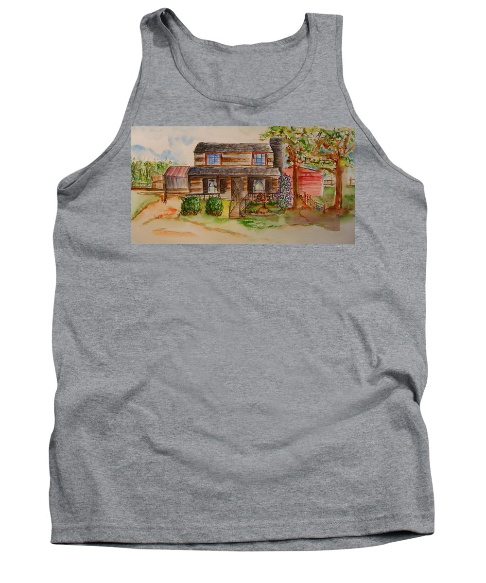 Cabin Tank Top featuring the painting The Red Sleigh Shoppe by Elaine Duras
