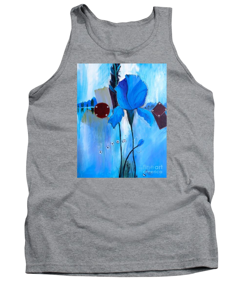 Impressionistic Iris Tank Top featuring the painting The Sound Of Blue by Alicia Fowler