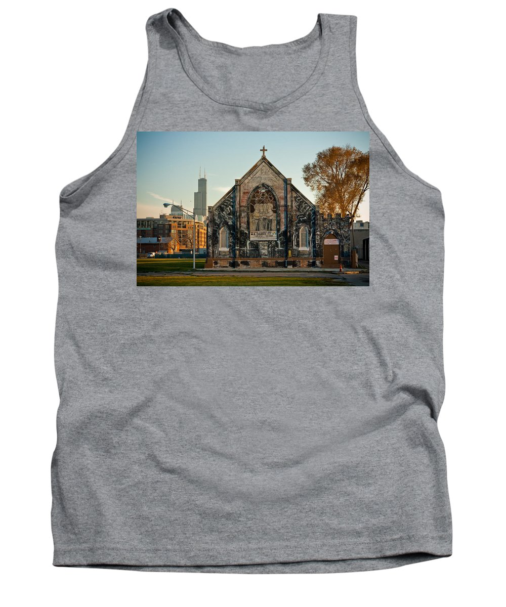 Chicago Tank Top featuring the photograph The Stranger's Church And Willis Tower by Anthony Doudt
