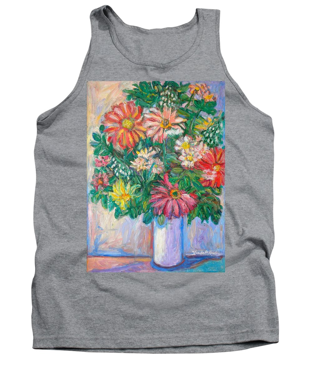 Still Life Tank Top featuring the painting The White Vase by Kendall Kessler