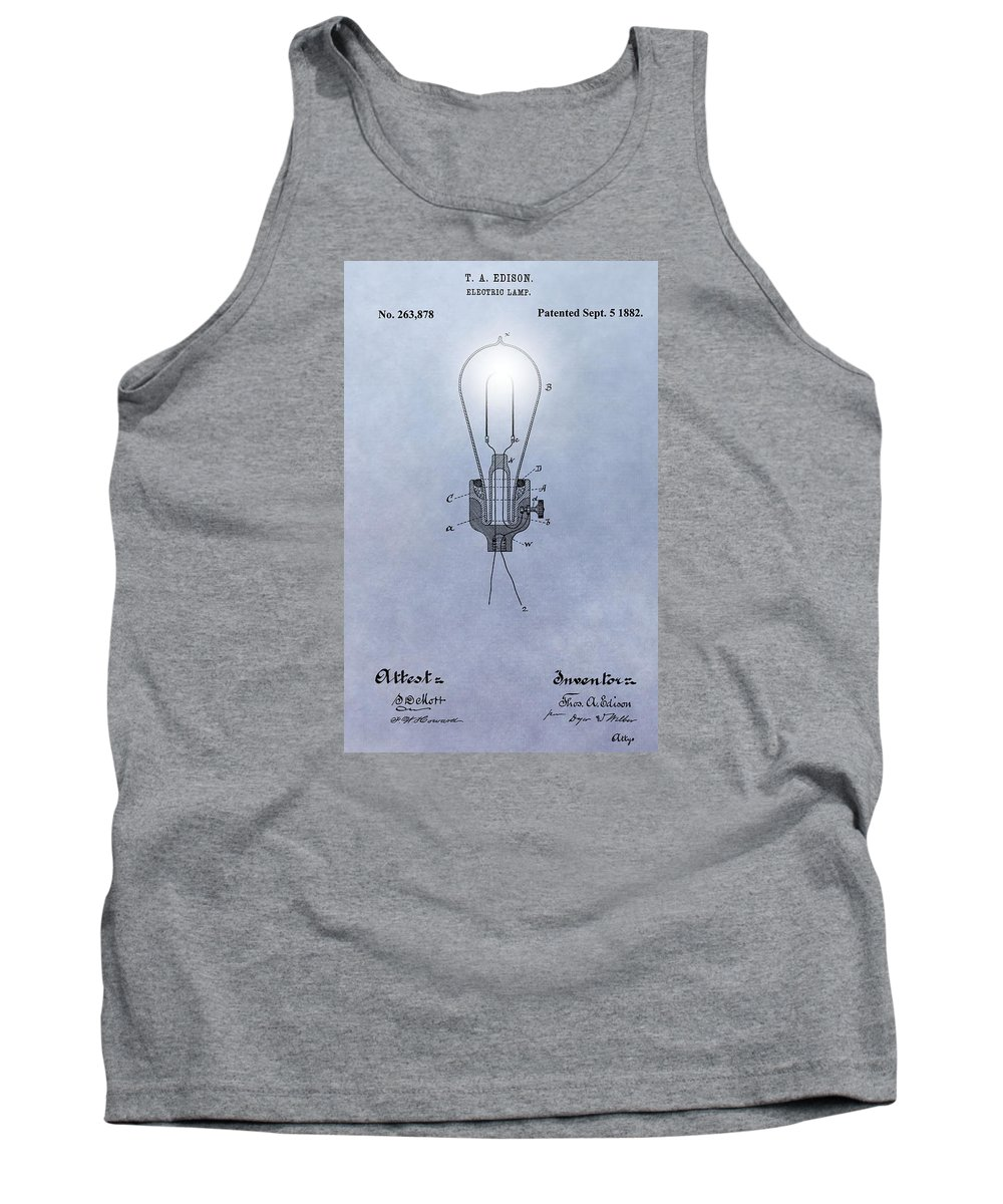 Thomas Edison Electric Lamp Patent Tank Top featuring the digital art Thomas Edison Electric Lamp Patent by Dan Sproul