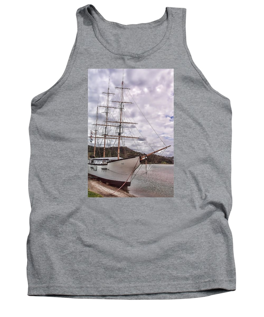 Foreign Tank Top featuring the photograph Three Mast Sail Boat by Linda Phelps