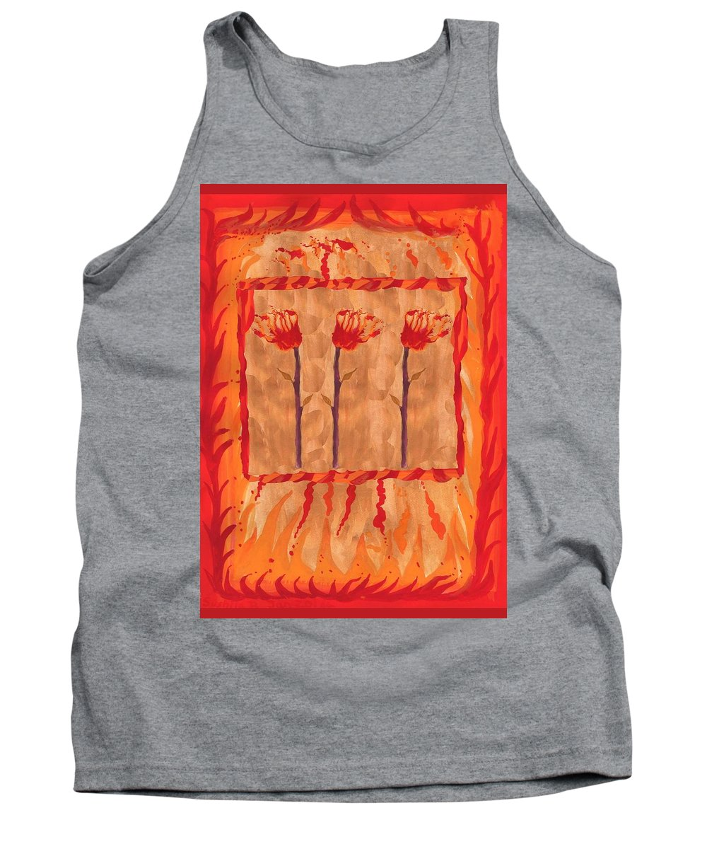Tarot Tank Top featuring the painting Three Of Wands by Sushila Burgess