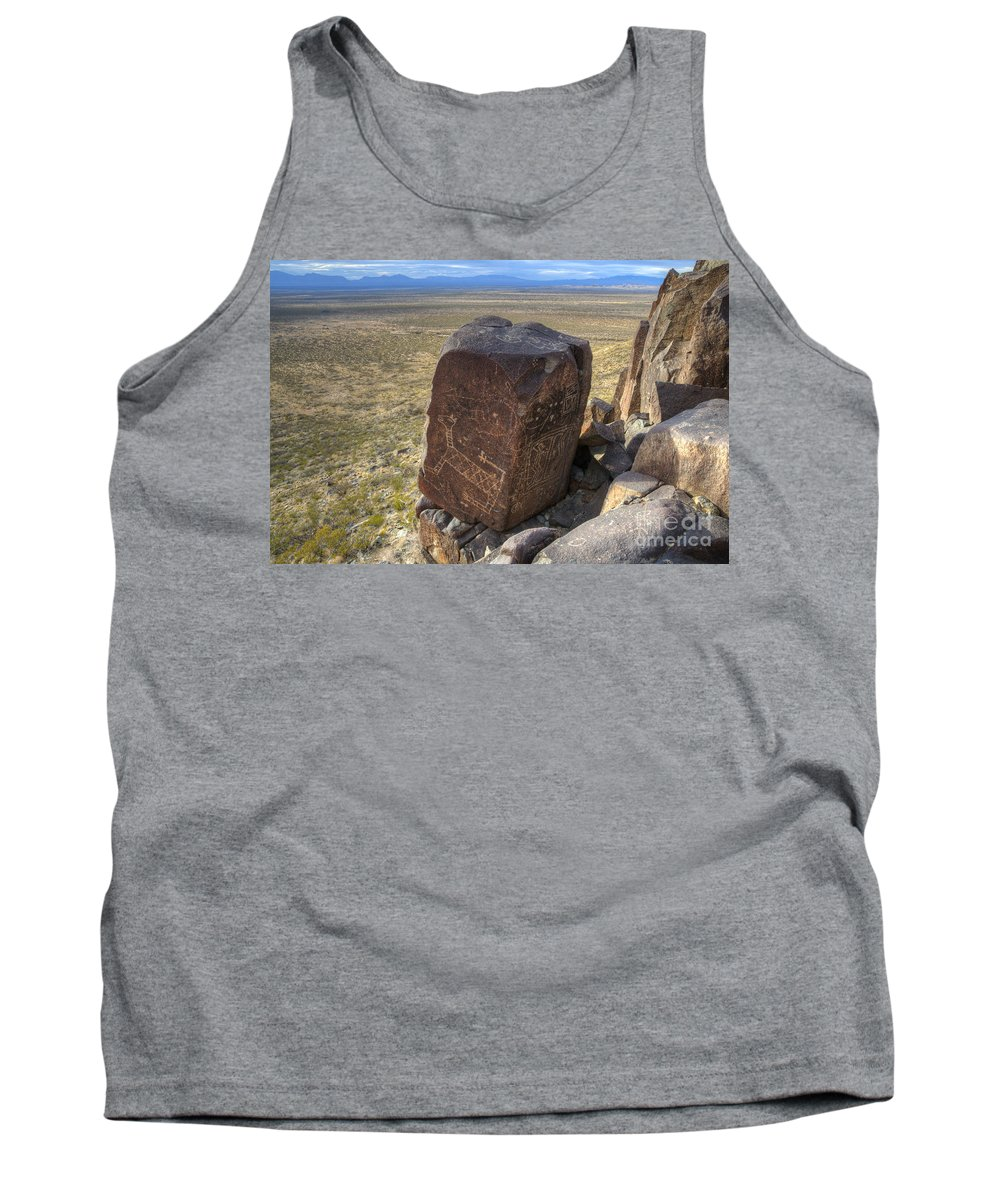 Three Rivers Tank Top featuring the photograph Three Rivers Petroglyphs 3 by Bob Christopher