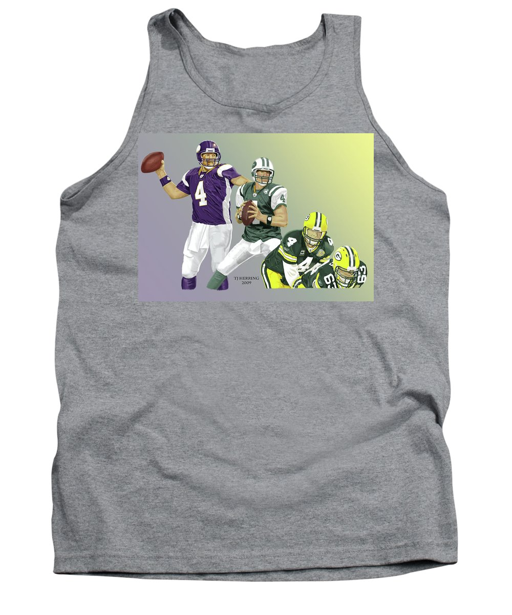Football Tank Top featuring the digital art Three Stages Of Bret Favre by Thomas J Herring