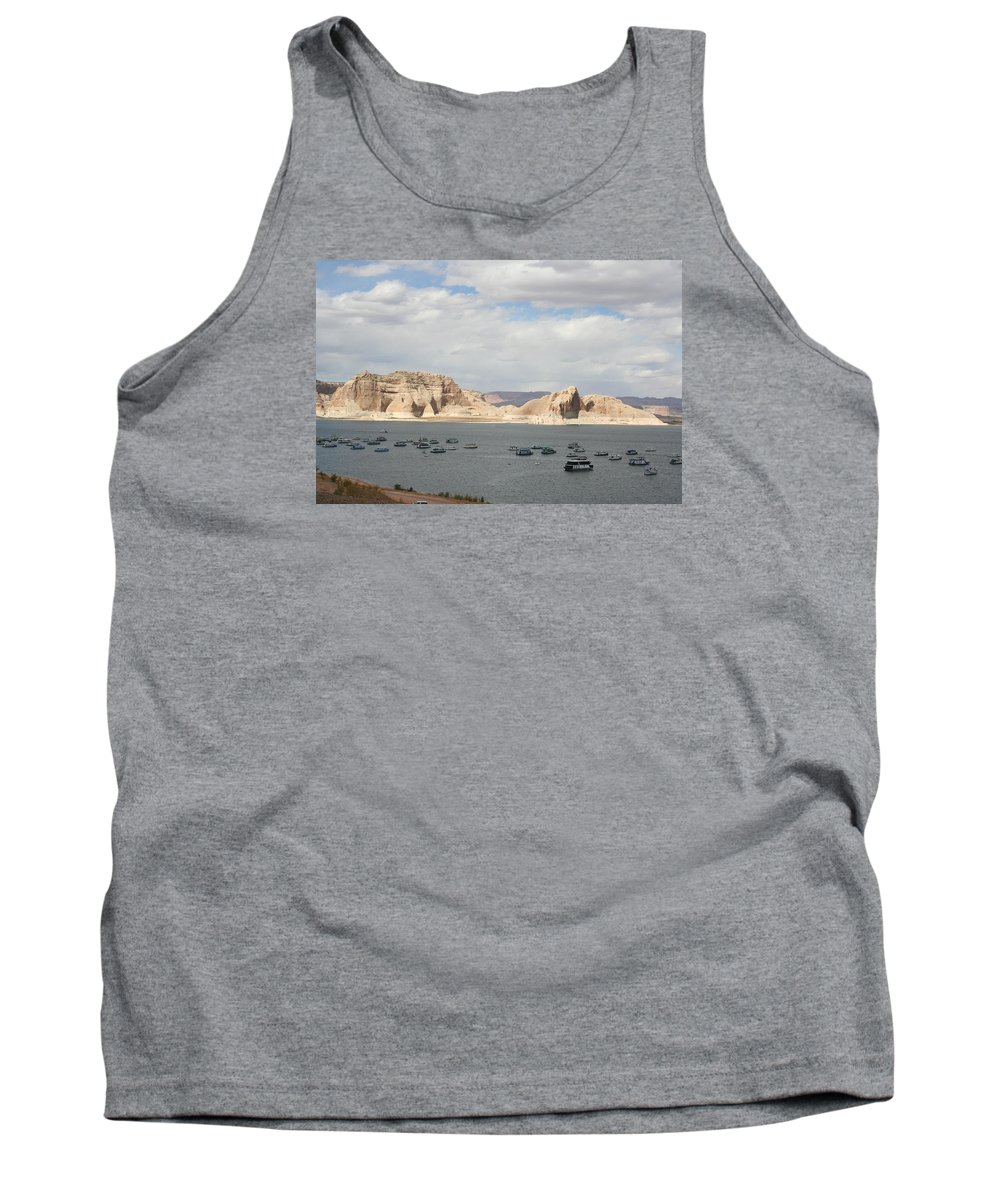 Lake Tank Top featuring the photograph Thunderstorm Atmosphere Over Lake Powell by Christiane Schulze Art And Photography