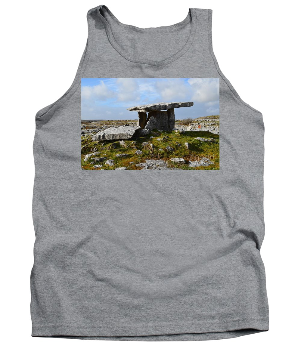 Poulnabrone Portal Tomb Tank Top featuring the photograph Tomb In Ireland by DejaVu Designs