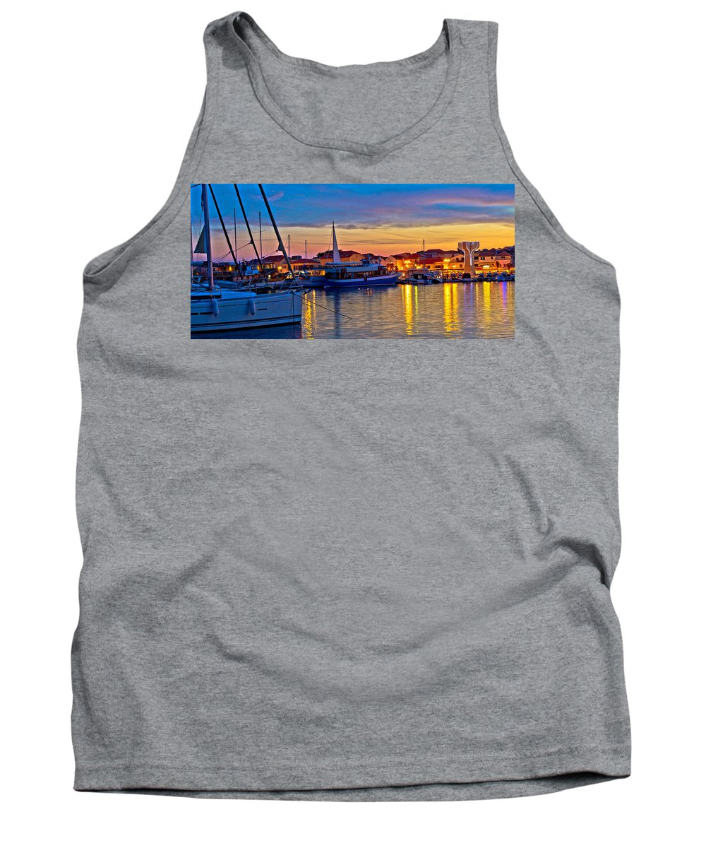 Croatia Tank Top featuring the photograph Town Of Vodice Harbor And Monument by Brch Photography