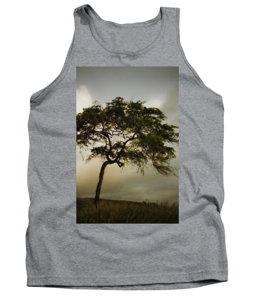 Copy-space Tank Top featuring the photograph Tree And Stormy Sky by Kristy-Anne Glubish