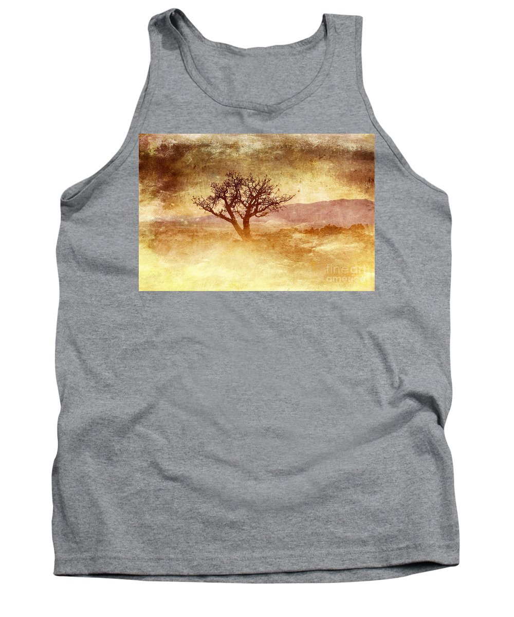 Yellow Tank Top featuring the photograph Tree At Dusk In Waikoloa 2 by Ellen Cotton