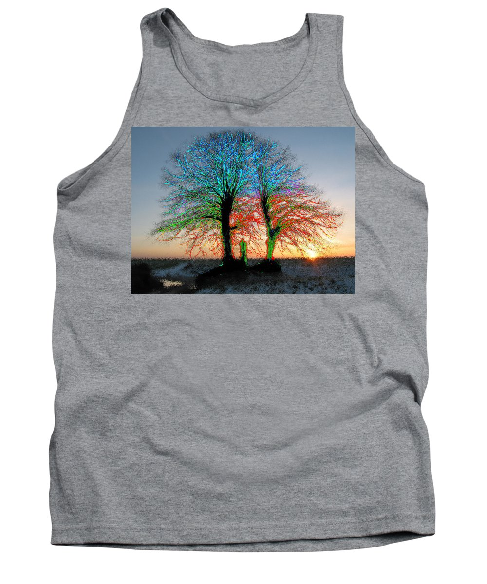 Trees Tank Top featuring the painting Trees Aglow by Bruce Nutting