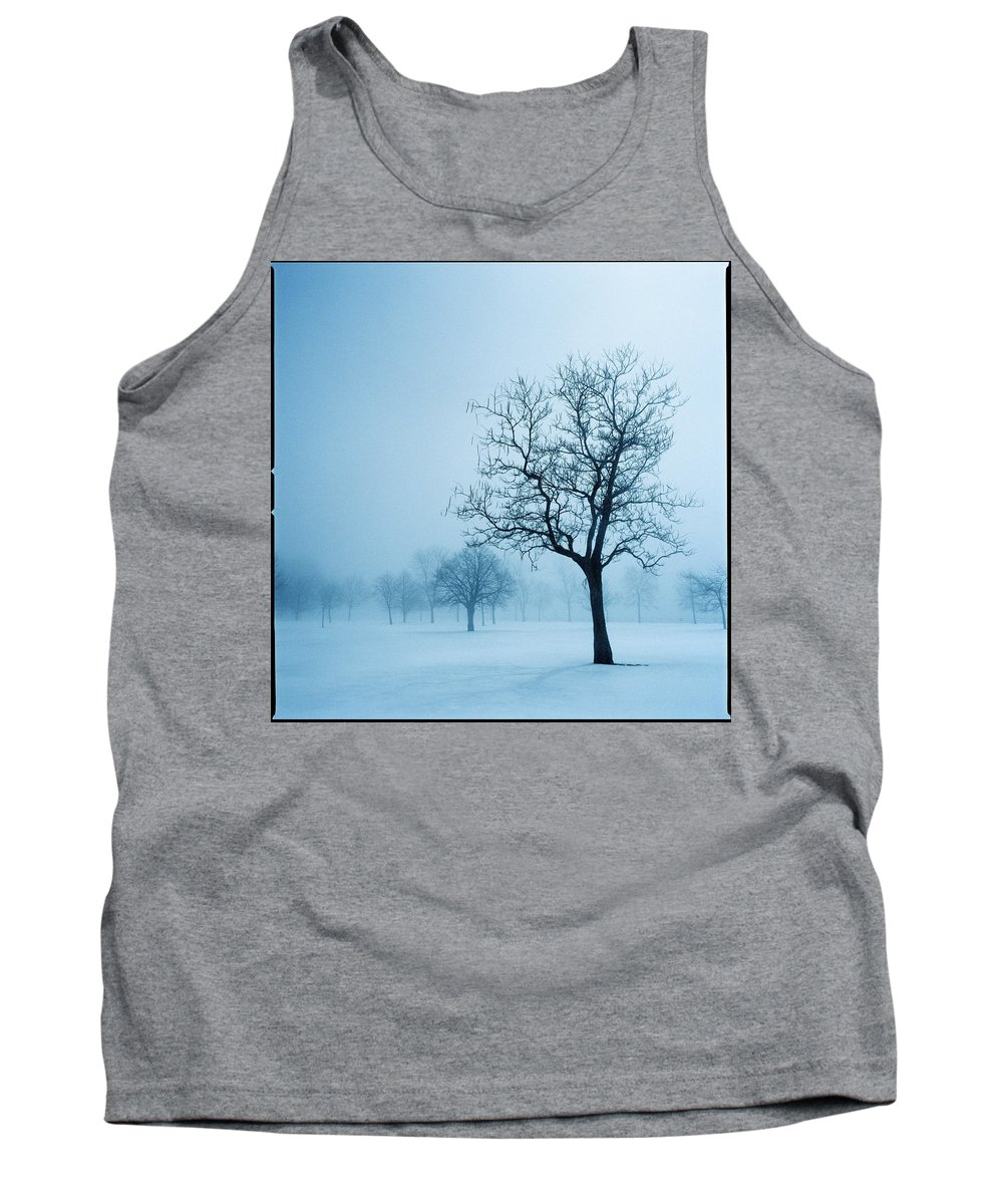 Daylight Tank Top featuring the photograph Trees And Snow In Fog, Toronto, Ontario by Sofia Kinachtchouk