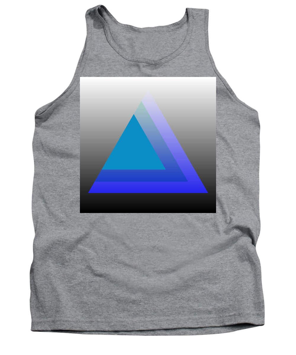 Digital-art Tank Top featuring the digital art Triangle Abstract Blue by Mary Clanahan
