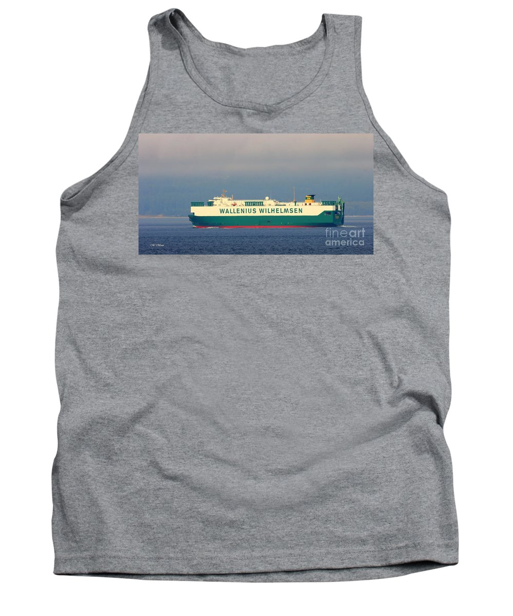 Wallenius Tank Top featuring the photograph Tristan Cargo Ship - Puget Sound Seattle Washington by Tap On Photo