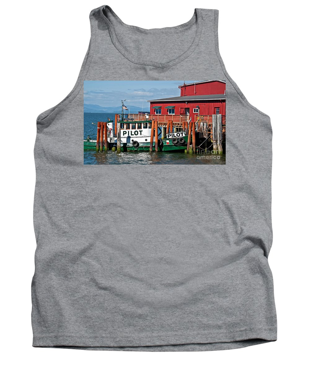 Boat Tank Top featuring the photograph Tug Boat Pilot Docked On Waterfront Art Prints by Valerie Garner