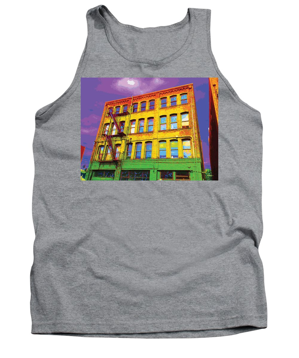Abstract Tank Top featuring the digital art Turn Left At The Brick Building That Looks Like A Bad Acid Trip by James Kramer