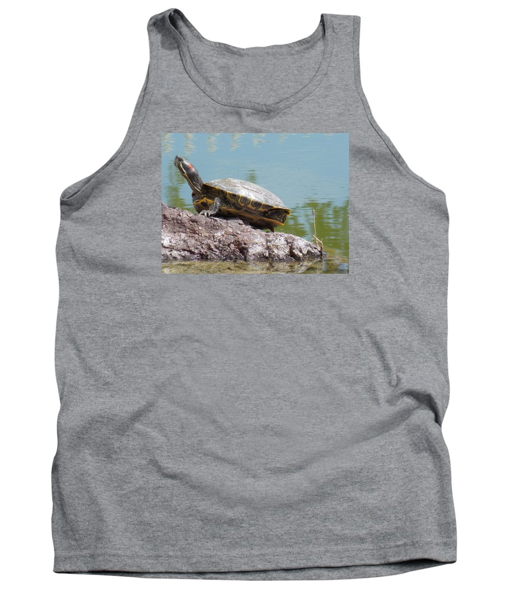 Turtle Tank Top featuring the photograph Turtle At The Lake by Nina Kindred