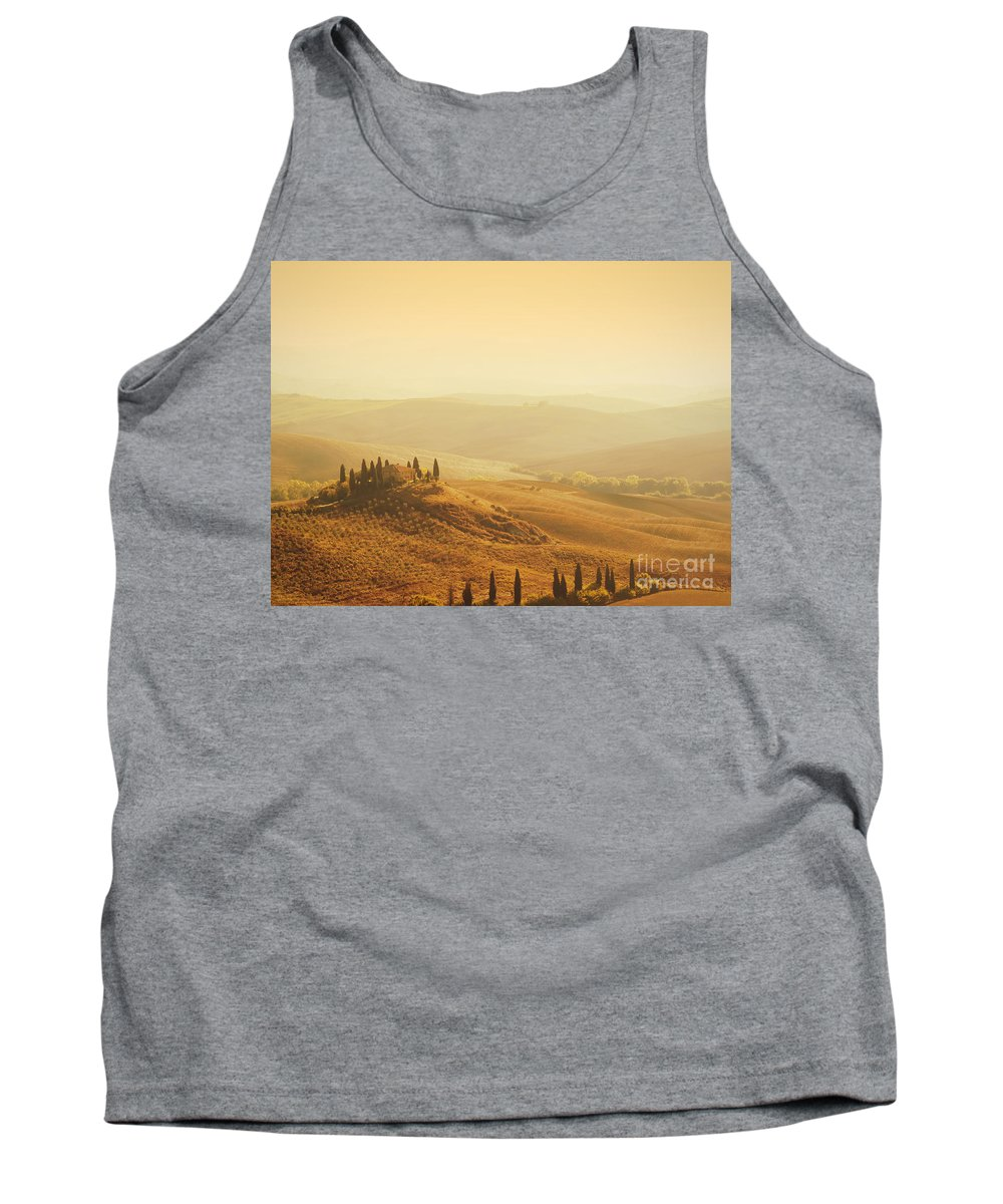 House Tank Top featuring the photograph Tuscan Villa Sunrise by iPics Photography