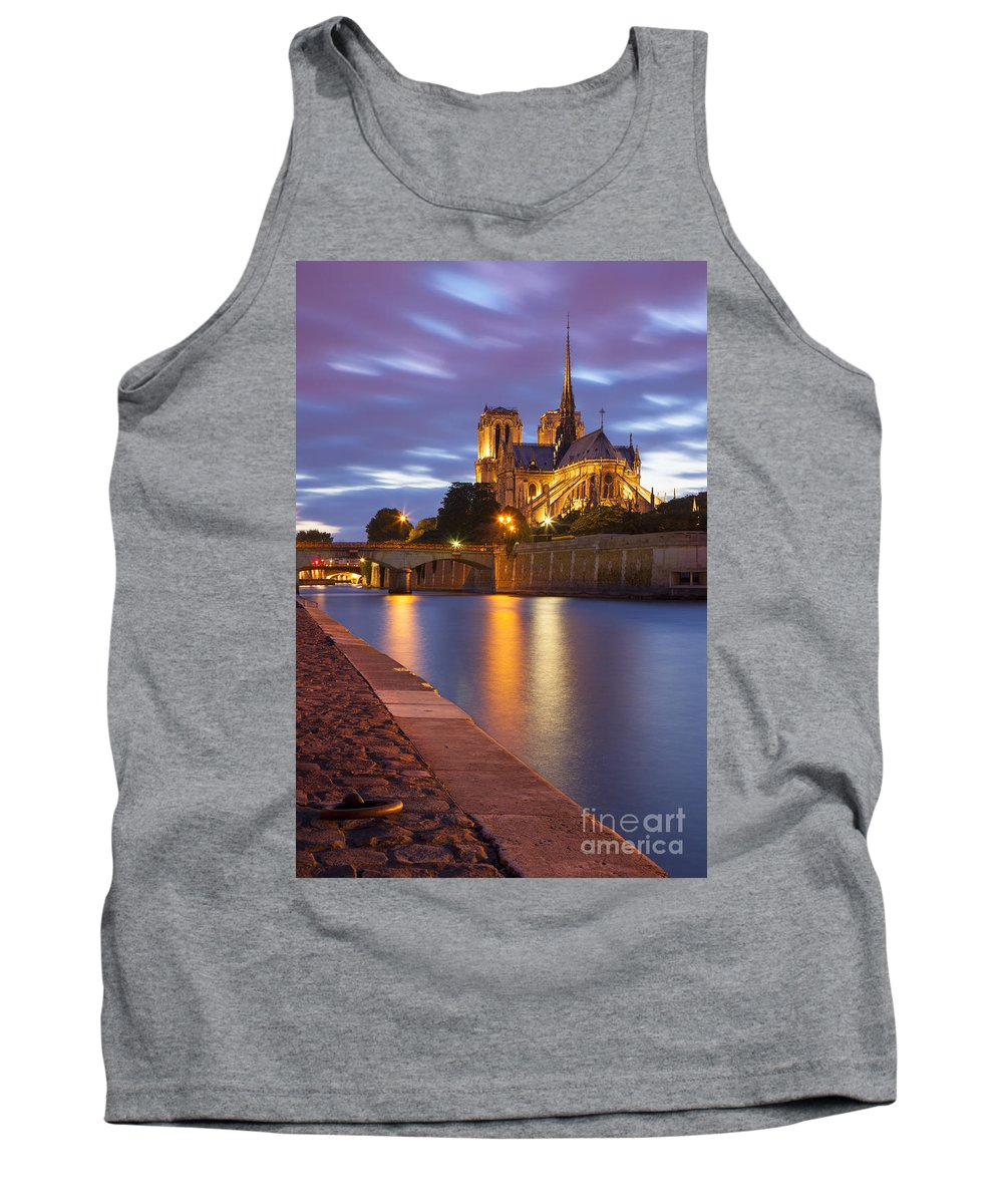 Architectural Tank Top featuring the photograph Twilight Over Notre Dame by Brian Jannsen