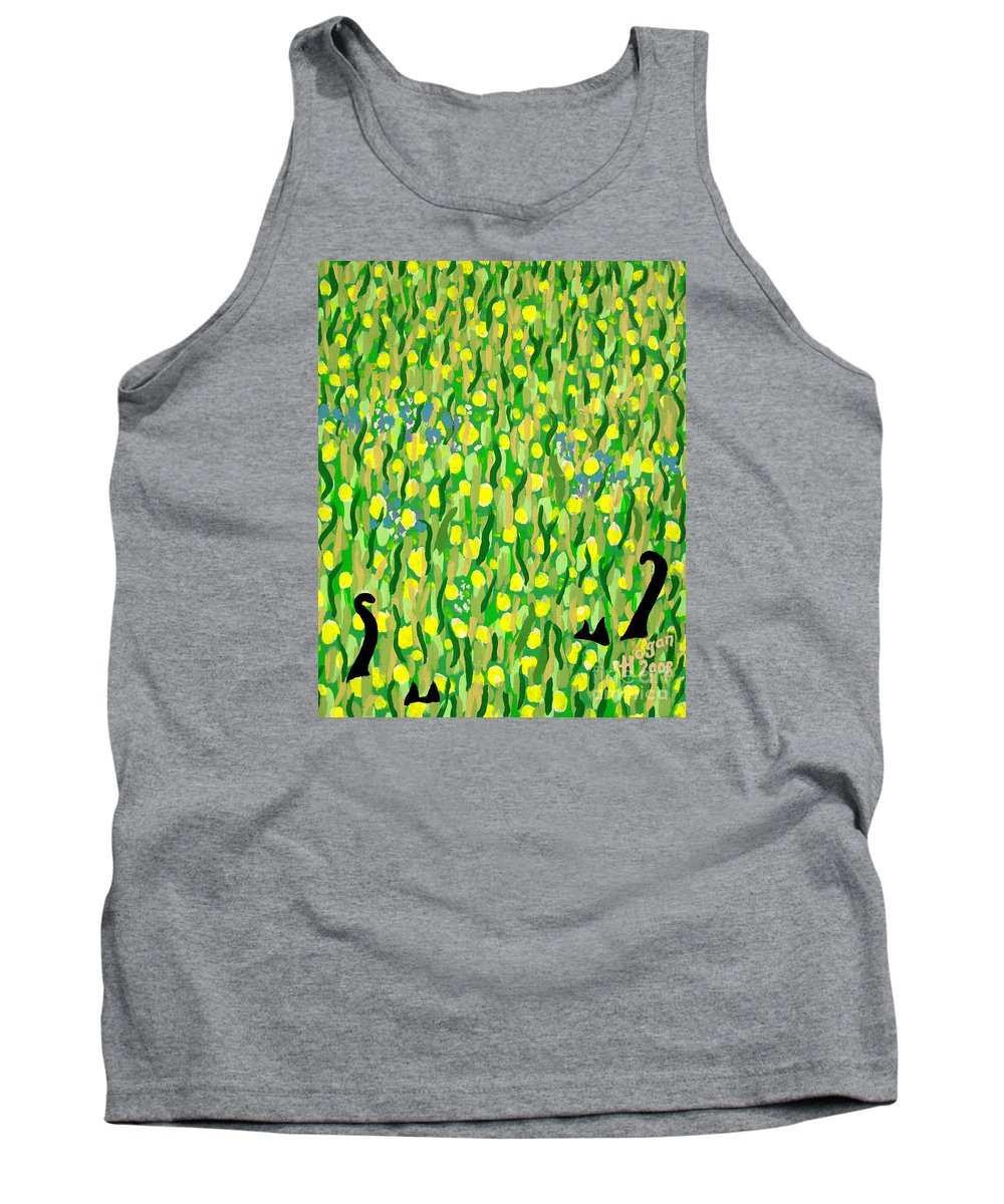 Flowers Tank Top featuring the painting Two Black Cats by Alan Hogan