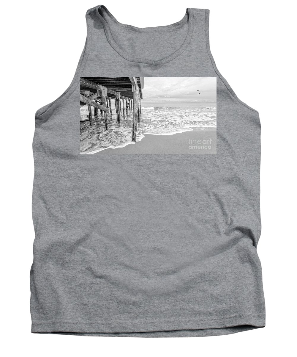 New Hampshire Tank Top featuring the photograph Under The Boardwalk Black And White by Edward Fielding