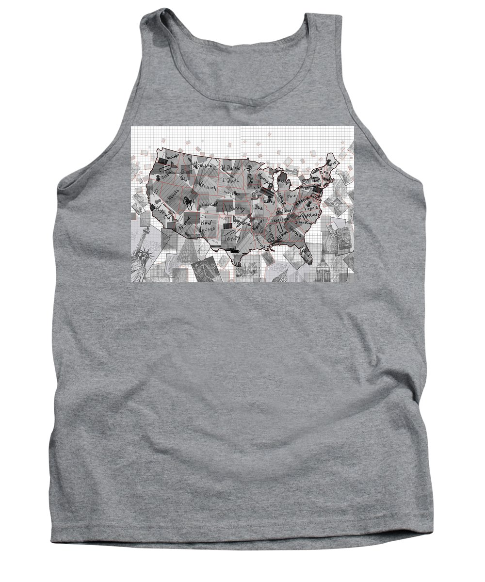 Map Tank Top featuring the digital art United States Map Collage 3 by Bekim Art