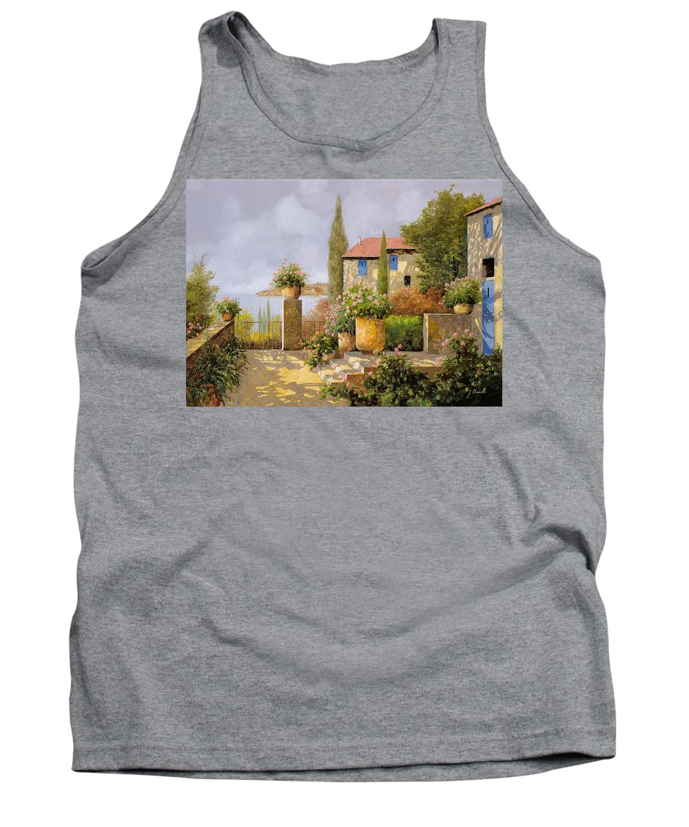 Terrace Tank Top featuring the painting Uno Sguardo Sul Mare by Guido Borelli