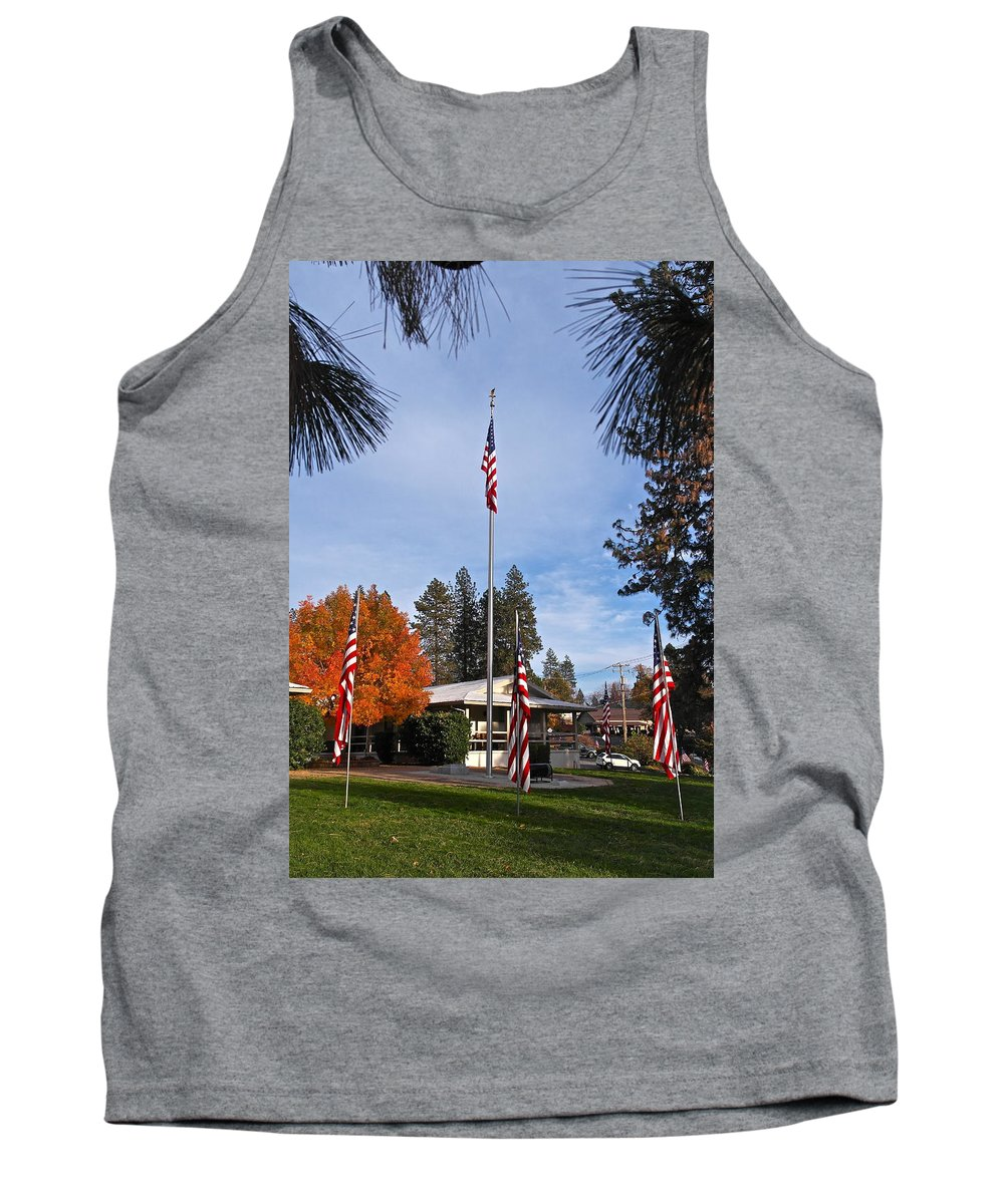 American Flag Tank Top featuring the photograph Vfw Hall Veterans Day by Michele Myers