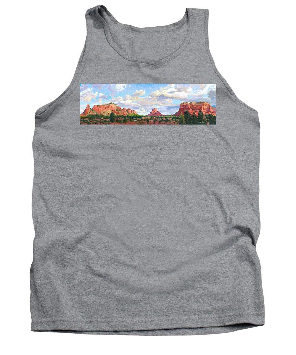 Skyline Tank Top featuring the painting Village Of Oak Creek - Sedona by Steve Simon